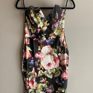 Strapless floral midi dress